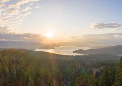 Coeur d'Alene Idaho sunrise aerial drone photo